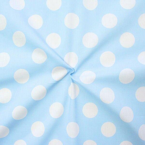 "100% Baumwollstoff ""Polka Dots groß"" Farbe Hell-Blau Weiss"