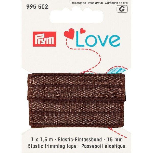 Prym Love 1,5m Elastic-Einfassband 15mm breit braun