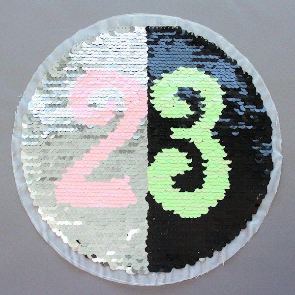 Wendepailletten Patch Kreis 23 Silber-Schwarz
