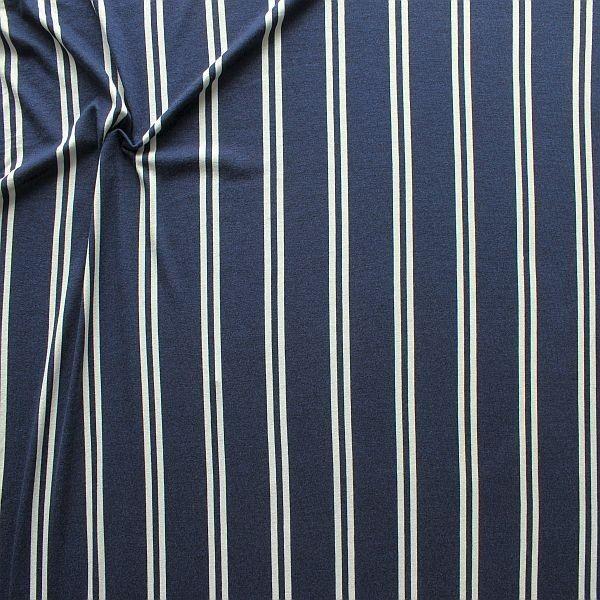 Viskose Stretch Jersey Doppelstreifen Dunkel-Blau Weiss