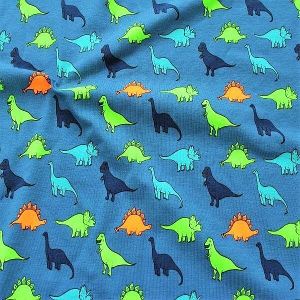 Baumwoll Stretch Jersey Dino Mix Neon Tauben-Blau