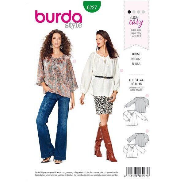 Bluse – Carmenbluse – Banddurchzug, Gr. 34 - 44, Schnittmuster Burda 6227