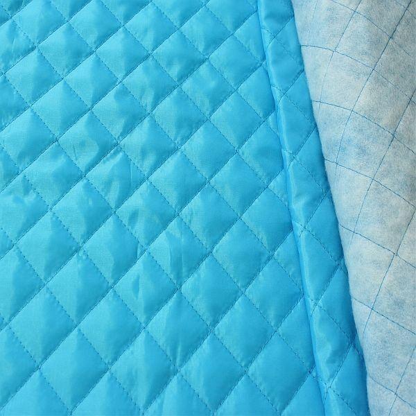 Steppstoff Futterstoff wattiert Rauten Klassik Türkis-Blau