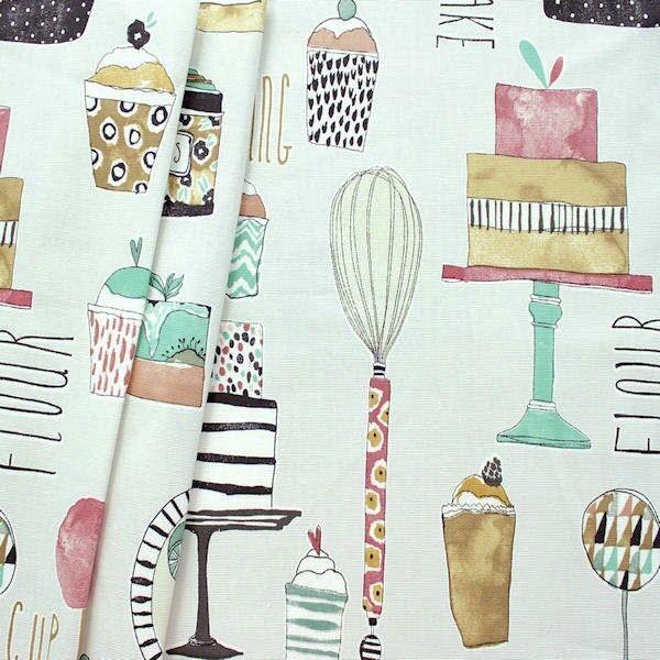 "Design Dekostoff Halbpanama ""Eat Cake Marshmallow"" Farbe Hell-Grau"