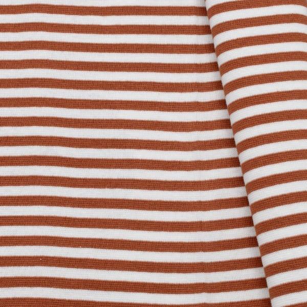 Baumwoll Bündchenstoff Ringel glatt Rost-Rot Weiss