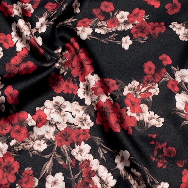 Stretch Satin Stoff Blumenpracht Farbe Schwarz