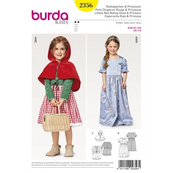 Burda 2356 Schnittmuster für Faschingskostüm Rotkäppchen und Prinzessinnen-Kleid