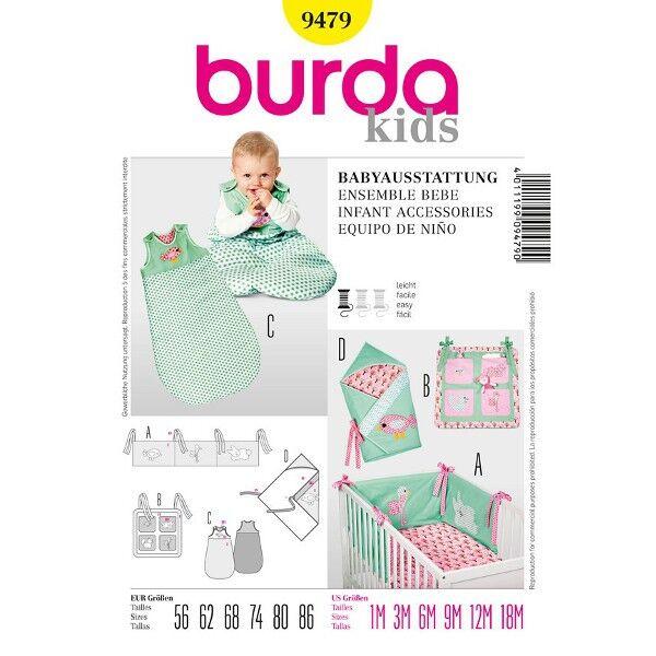 Burda 9479 Babybettausstattung Nestchen, Utensilo, Schlafsack und Wickeltuch