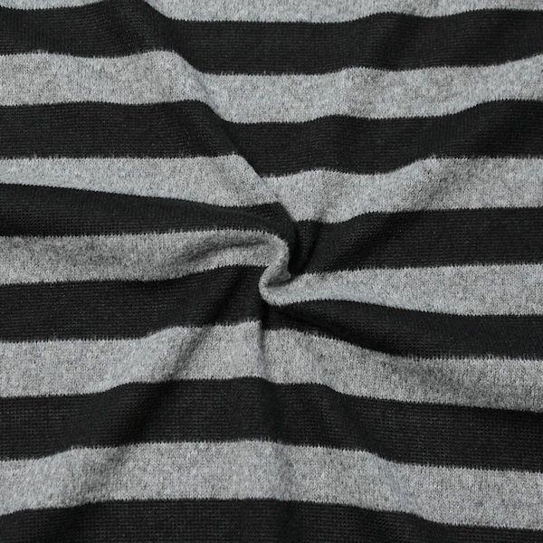 Strick Jersey Fashion Stripes Schwarz-Grau meliert
