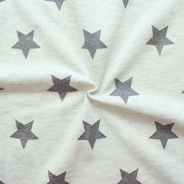 Sweatshirt Baumwollstoff Glitzer Sterne Ecru meliert