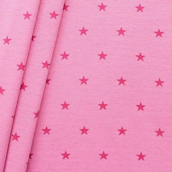 Baumwoll Bündchenstoff Sterne Mittel glatt Pink