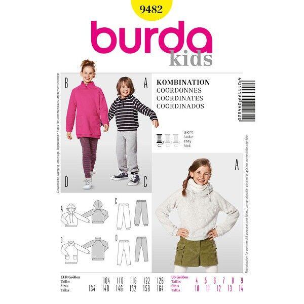 Burda 9482 Schnittmuster für Kombi für Jungen und Mädchen: Kapuzenshirt und Jogginghose, Shirtkleid und Leggings