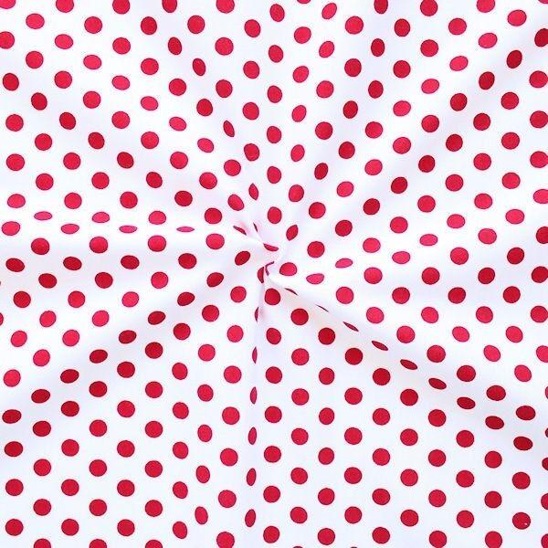 Baumwollstoff Tupfen Weiss-Rot