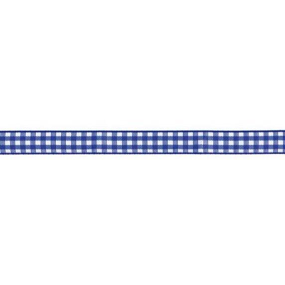 Prym Dekoband kariert 10mm x 4m (Breite / Länge) royalblau / weiss
