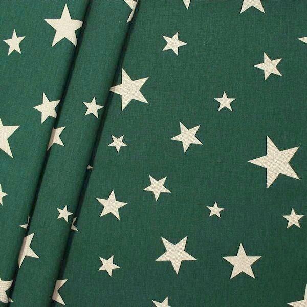 Dekostoff Sterne Mix Grün Natur