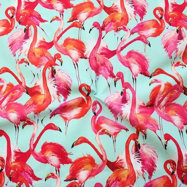 """Dekostoff Digital Druck """"Pink Flamingos"""" Farbe Mint"""