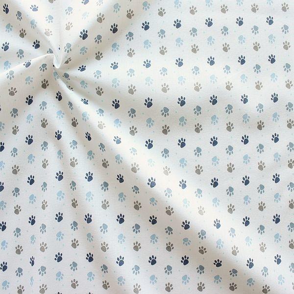 Baumwollstoff Pfötchen Weiss-Blau