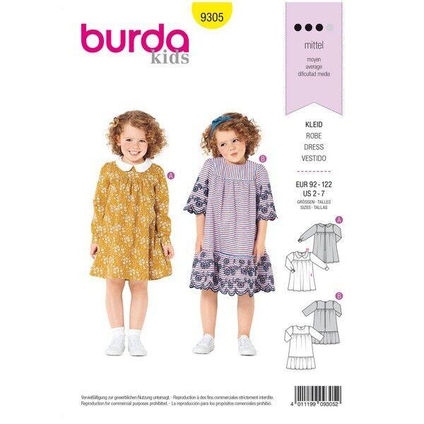 Kleid mit Passe – Bubikragen – Saumrüsche, Gr. 92 - 122, Schnittmuster Burda 9305