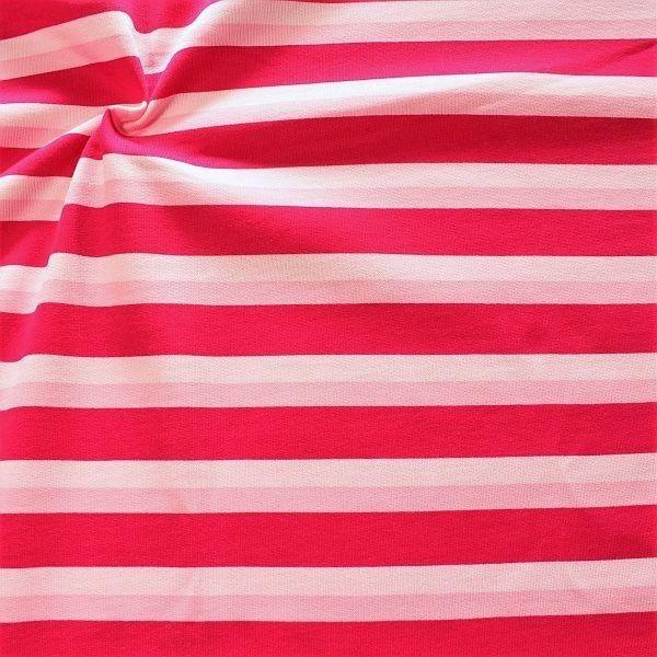 Sweatshirt Baumwollstoff Streifen Trio Rosa