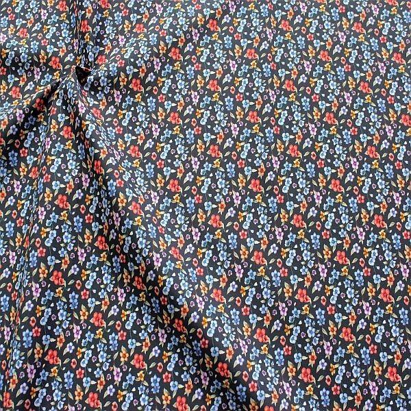 Baumwolle Popeline Streublümchen Blau-Multicolor