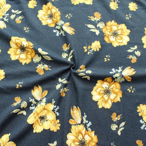 Sweatshirt Baumwollstoff Flowers Jeans-Optik Dunkel-Blau