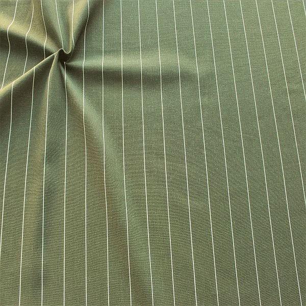 Viskose-Leinen Stoff Fine Stripes Khaki-Grün