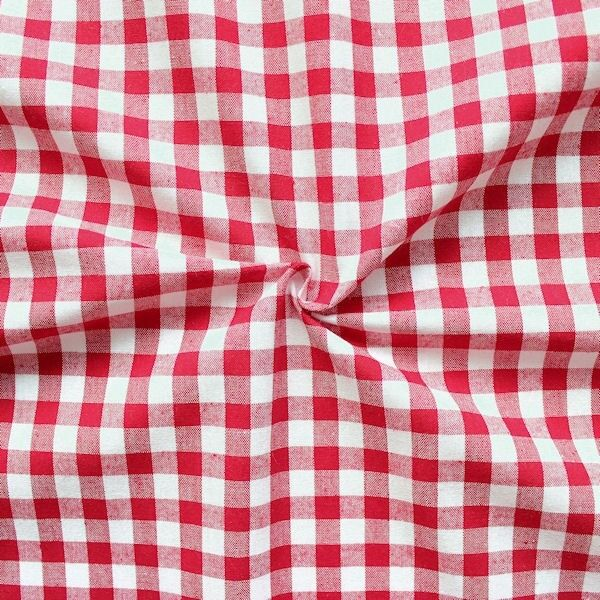 100% Baumwollstoff Züchen Vichy Karo groß Farbe Rot-Weiss