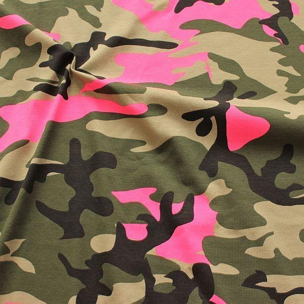 Baumwoll Stretch Jersey Camouflage Neon Khaki-Pink