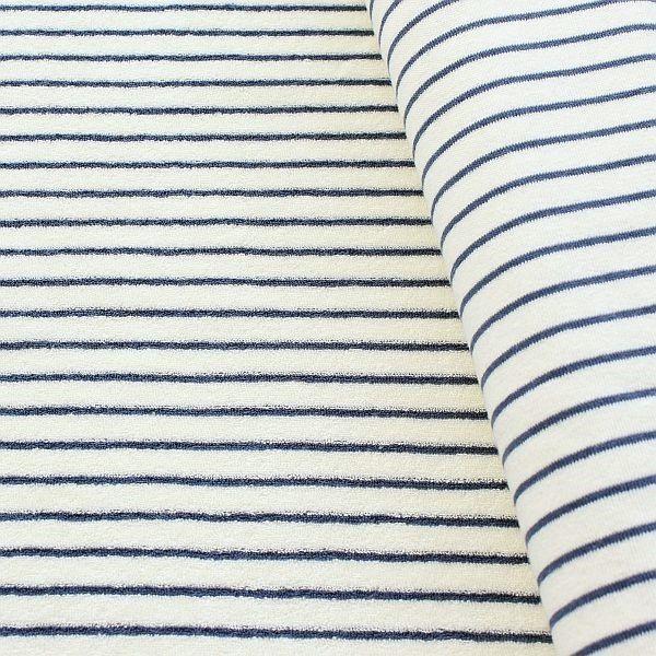 Frottee Sweatshirt Baumwollstoff Streifen Ecru Blau