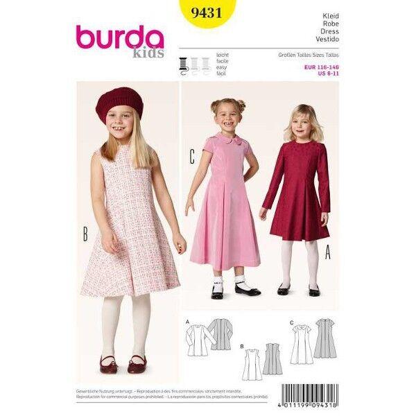 Kleid – Kellerfalten, Gr. 116 - 146, Schnittmuster Burda 9431