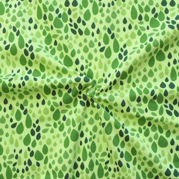 "Baumwoll Stretch Jersey ""Tropfen Mix"" Farbe Grün-Oliv"