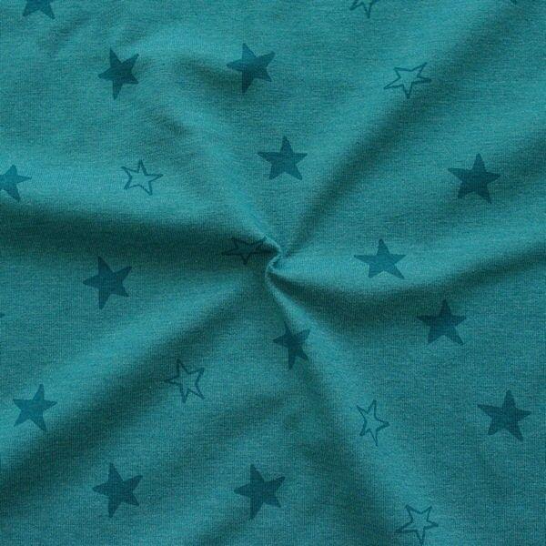 Baumwoll Stretch Jersey Sterne Mix Melange Petrol