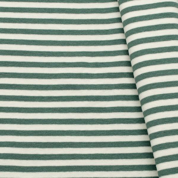 Baumwoll Bündchenstoff Ringel glatt Mint-Grün Weiss