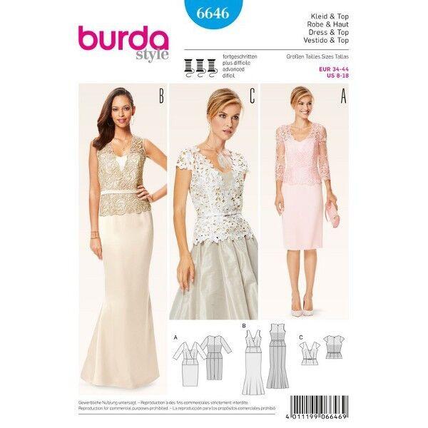 Abendkleid – Spitzenoberteil mit V-Ausschnitt und Schößchen, Gr. 34 - 44, Schnittmuster Burda 6646