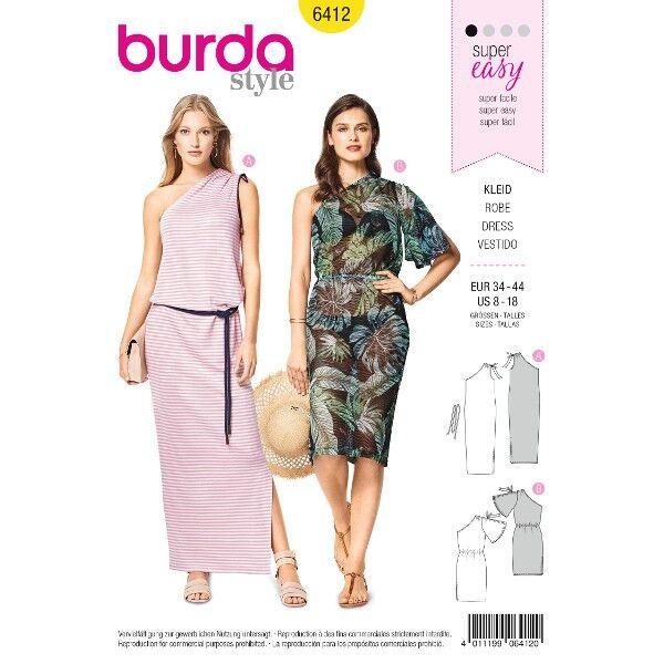 One-Shoulder-Kleid – Schulterraffung, Gr. 34 - 44, Schnittmuster Burda 6412