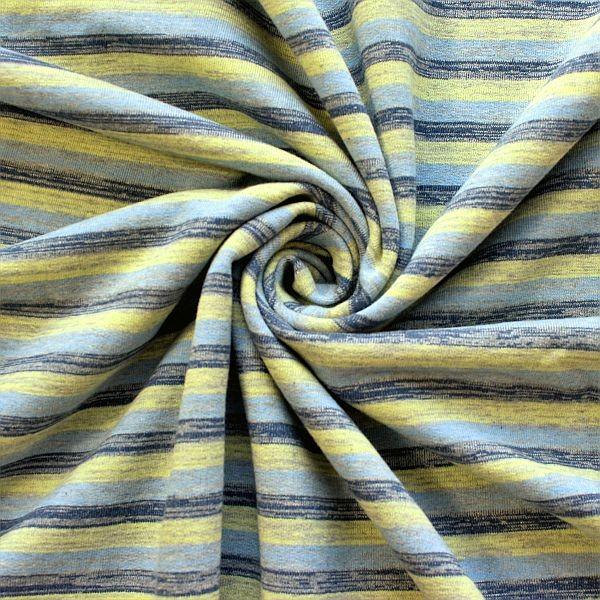 Sweatshirt Baumwollstoff Melange Streifen Blau-Gelb