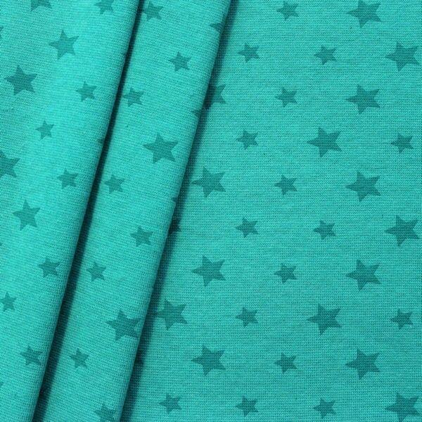 "Baumwoll Bündchenstoff ""Sterne Mix glatt"" Farbe Petrol-Grün meliert"
