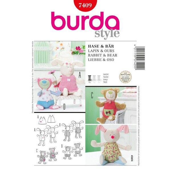 Burda Schnittmuster 7409 Kuscheltier Bär und Hase mit Kleidchen