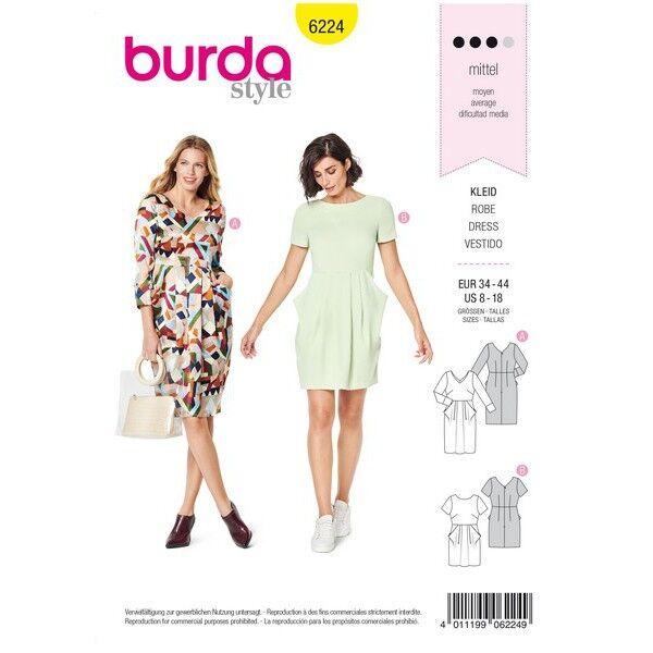 Kleid – V-Auschnitt – Rock mit Falten – Tütentaschen, Gr. 34 - 44, Schnittmuster Burda 6224