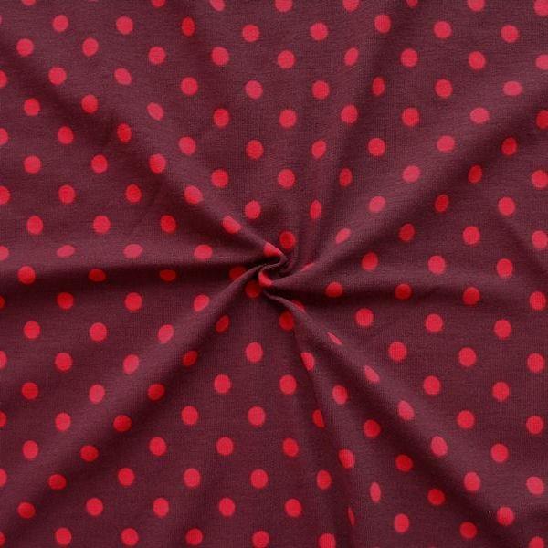 """Baumwoll Stretch Jersey """"Punkte Mittel"""" Farbe Weinrot-Rot"""