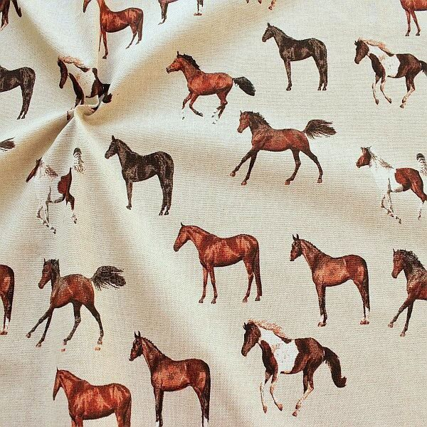 Dekostoff Pferde Natur