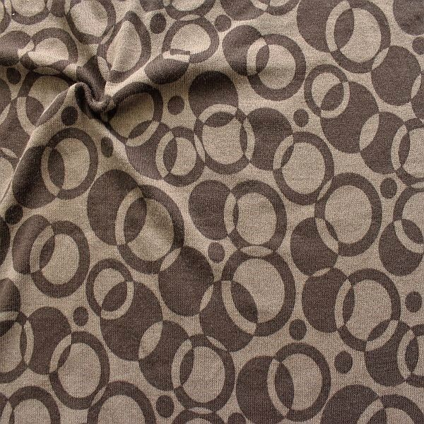 Strick Jersey Retro Circles Braun