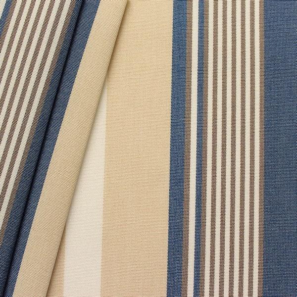 Markisenstoff Outdoorstoff Streifen Blau-Beige-Weiss