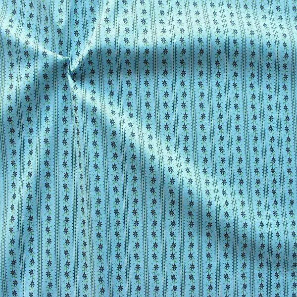 Baumwolle Popeline Folklore Blumen-Reihen Hell-Blau