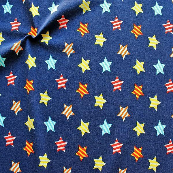 Baumwoll Stretch Jersey Streifen-Sterne Dunkel-Blau