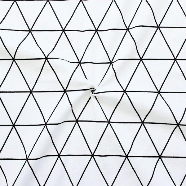 """Baumwoll Stretch Jersey """"Dreieck Gitter"""" Farbe Weiss-Schwarz"""