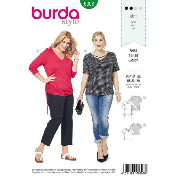 Langarm Shirt, Shirt, Gr. 46 - 56, Schnittmuster Burda 6308