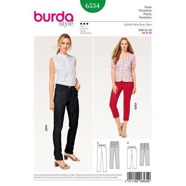 Hose - Jeans - 3/4 Hose, Gr. 34 - 46, Schnittmuster Burda 6534