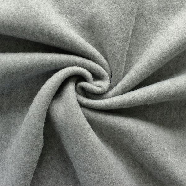 Baumwoll Fleece Hell-Grau melange
