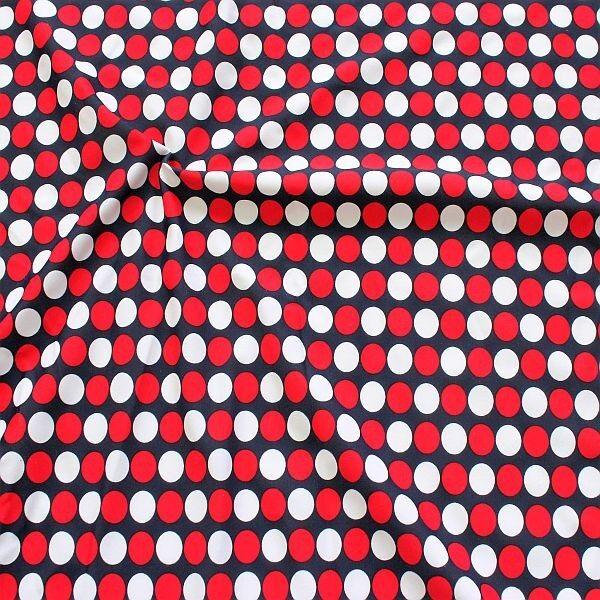 Bi-Stretch Jersey Badeanzug Stoff Dots Maritim Navy-Rot-Weiss